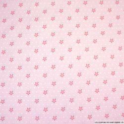 Coton imprimé étoiles et pois fond rose