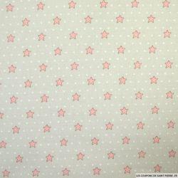 Coton imprimé etoiles et pois fond rose
