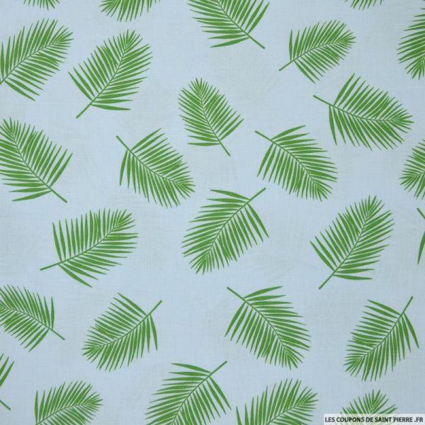 Coton imprimé feuillage vert fond ciel