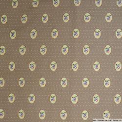 Coton imprimé médaillons et pois fond marron glacé