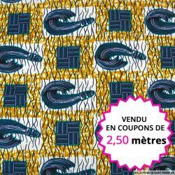 Wax africain ménager bleu fond moutarde, vendu en coupon de 2,50 mètres