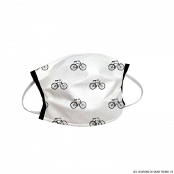 Masque barrière en tissu vélos fond blanc