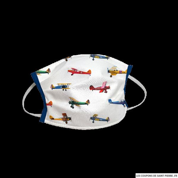 Masque barrière en tissu avion fond blanc