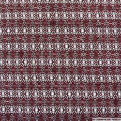 Microfibre imprimée frise graphique bordeaux et blanc