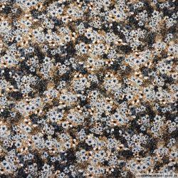 Microfibre imprimée champ de fleurs marron et gris