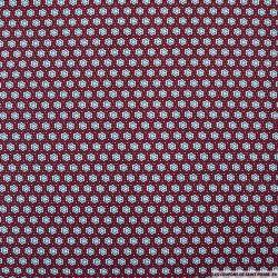 Microfibre imprimée rosaces rouge fond blanc