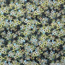 Microfibre imprimée champ de fleurs vert et bleu