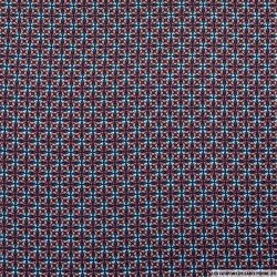 Crêpe polyester imprimé petites rosaces violet et bleu