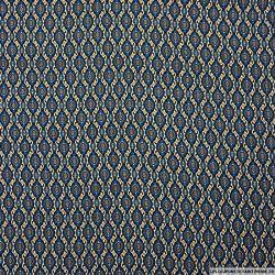 Crêpe polyester imprimé petites médailles bleu