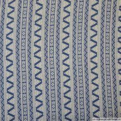 Microfibre imprimée frise graphique bleu jeans