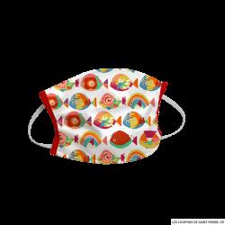 Masque barrière en tissu poisson tropicaux rouge