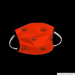 Masque barrière en tissu crabe fond orange