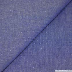 Chambray de coton fin à pois fond bleu