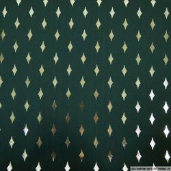 Microfibre imprimée losanges dorées fond vert forêt