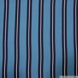 Microfibre imprimée rayures fond bleu