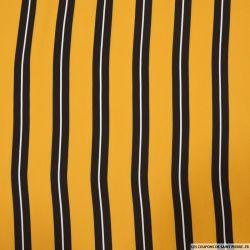 Microfibre imprimée rayures fond moutarde