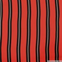Microfibre imprimée rayures fond rouge