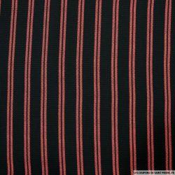 Crêpe polyester ajouré imprimé rayures rouge fond noir