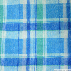 Jersey brillant quadrillage bleu