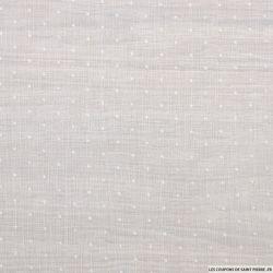Mousseline de polyester plumetis fin blanc