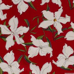 Lin viscose imprimé fleurs fond rouge