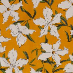 Lin viscose imprimé fleurs fond safran