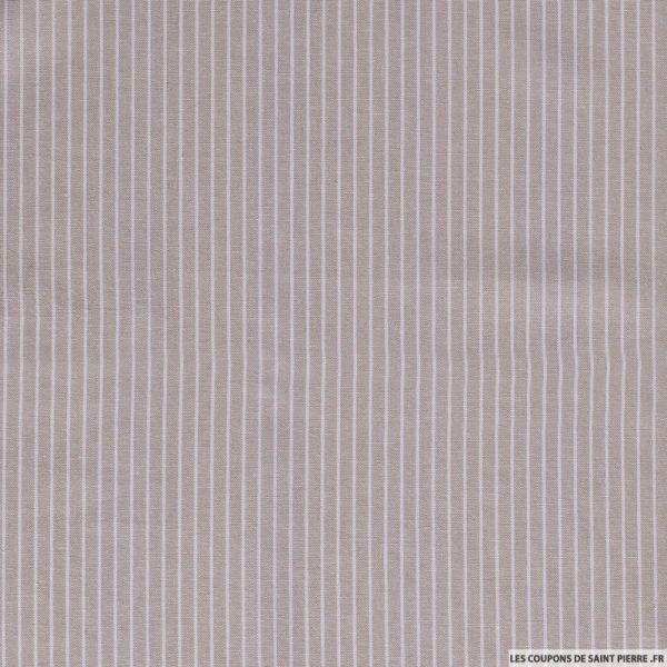 Lin viscose imprimé fines rayures blanc fond beige