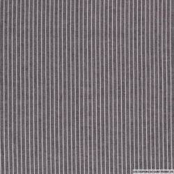 Lin viscose imprimé fines rayures blanc fond noir