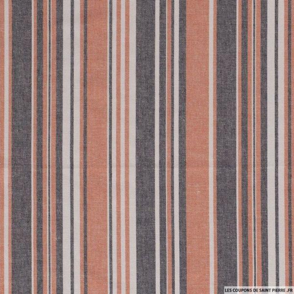 Lin viscose imprimé multi rayures orange