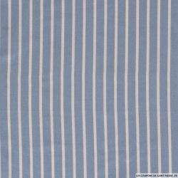 Lin viscose imprimé rayures blanc et bleu ciel
