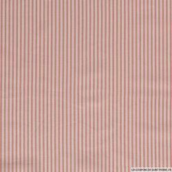Lin viscose imprimé petites rayures rose