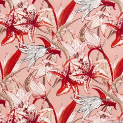 Lin viscose imprimé champs de fleurs fond rose