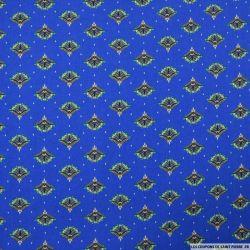 Microfibre imprimée éventail fond bleu roi