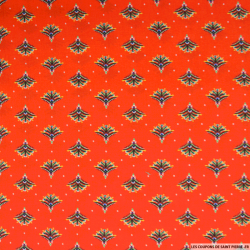 Microfibre imprimée éventail fond rouge