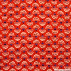 Microfibre imprimée coquillage fond rouge