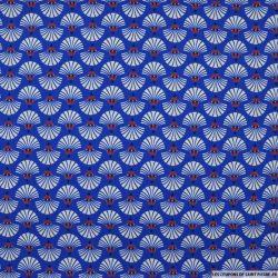 Microfibre imprimée coquillage fond bleu roi