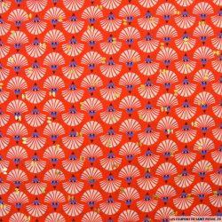 Microfibre imprimée coquillage doré fond rouge