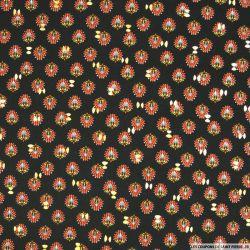 Microfibre imprimée paon fond noir