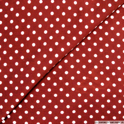 Viscose à pois 6mm blanc fond rouge