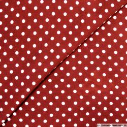 Viscose à pois 6mm blanc fond rouge
