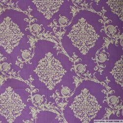 Coton imprimé ornement fond violet