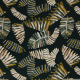 Lin viscose imprimé feuilles palmier vert foncé