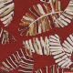 Lin viscose imprimé feuilles palmier rouge foncé