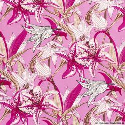 Lin viscose imprimé champs de fleurs fond fuchsia