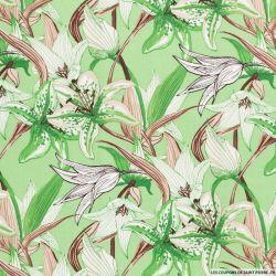 Lin viscose imprimé champs de fleurs fond vert pomme
