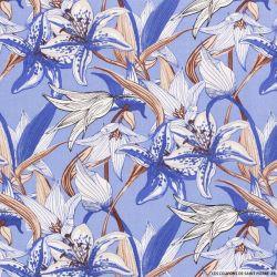 Lin viscose imprimé champs de fleurs fond bleu