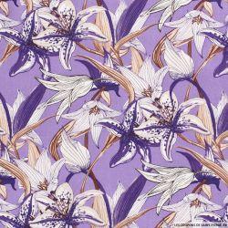 Lin viscose imprimé champs de fleurs fond violet