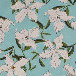 Lin viscose imprimé fleurs fond  bleu aquatique