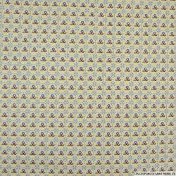 Coton imprimé à carreaux pointillés fleurs fond beige
