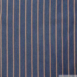 Jean's coton élasthane bleu petite rayure rouge et blanc